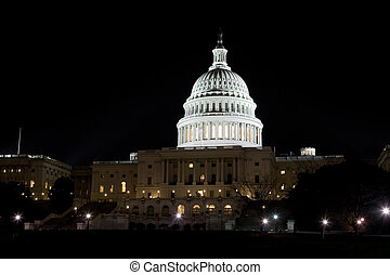 US Capitol Building Dome Illuminated at Night, Washington DC