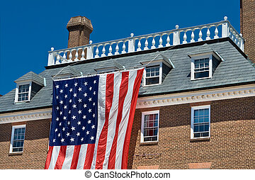 City Hall in Old Town, Alexandria, Virginia in a colonial...