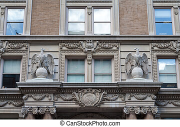 Eagles and Colorado State Seal Beaux-Arts Building Facade in...