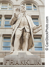 Statue Ben Franklin Old Post Office Building Washington DC -...