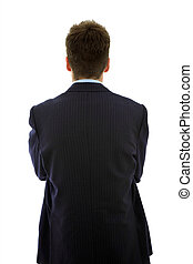 behind - young businessman from behind, isolated on white