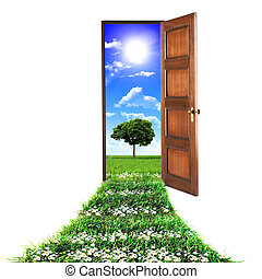 door toward nature - open door leading to beautiful clean...