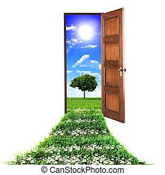 door toward nature - open door leading to beautiful clean...