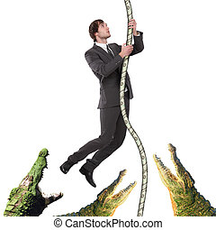 business man climbing up from crocodiles