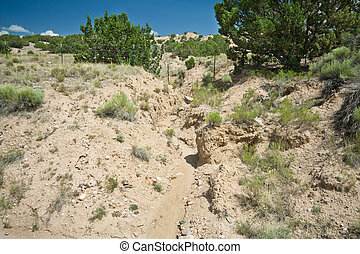 Desert Wash Arroyo Showing Erosion New Mexico - Desert Wash...