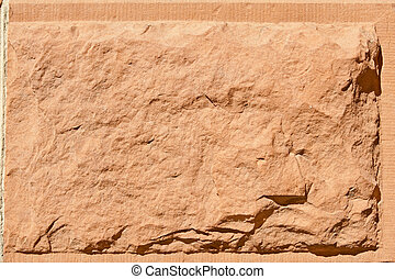 Block of Rustic Rough Cut Red Sandstone Stone Surface -...