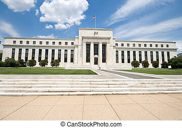 Federal Reserve Bank Building Washington DC, USA, Blue Sky -...