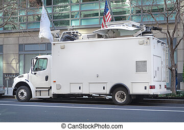 Television News Truck Van, Satellite Dish Roof, Parked on...