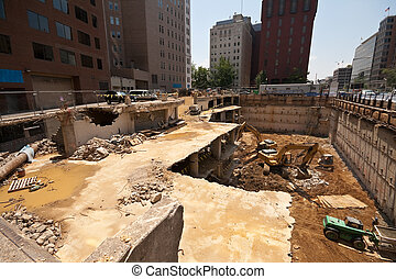 Wide angle shot of a downtown demolition and construction...
