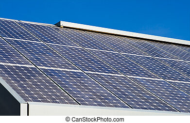 Rows Solar Panels Array Roof Blue Sky Background