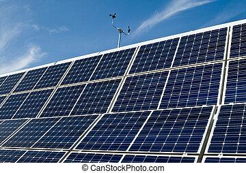 PV, solar, panel, serie, contra, azul, cielo, anemómetro