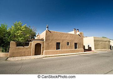 Adobe House Home Blue Sky Santa Fe, New Mexico