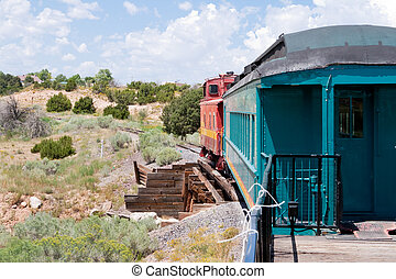 Vintage Rail Car Caboose South of Santa Fe, New Mexico -...