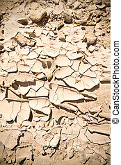 Full Frame Vignette Cracked Dried Mud Abiquiu, New Mexico -...