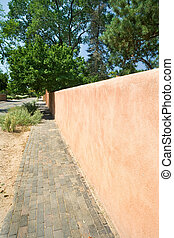 Adobe Wall to a Vanishing Point Sidewalk Santa Fe - Adobe...