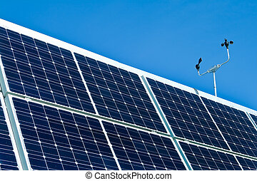 photovoltaic, Al aire libre, pv, anemómetro, solar, paneles...