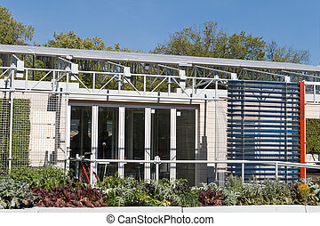 Exterior Modern Solar House PV Hot Water Panels