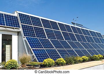 photovoltaic, anemómetro,  pv,  solar, hogar, paneles, fila