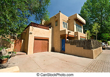 Modern Adobe Single Family Home in Santa Fe, New Mexico -...