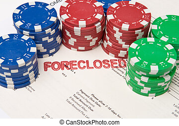 Bet the House Poker Chips on Foreclosed Mortgage - Stacks of...