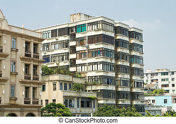 Old Run Down Apartment Buildings in Guangzhou, China