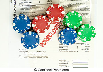 Stack Poker Chips Foreclosure Notice Foreclosed - Stacks of...