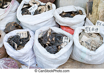 Bags of Tree Fungus Mushrooms, Market, Guangzhou, China