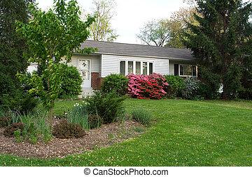 1950s, casa, rambler, suburbano, Maryland