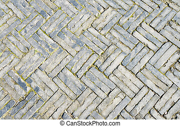 Full Frame Zigzag Brick Pattern, Sidewalk in Old Shanghai...