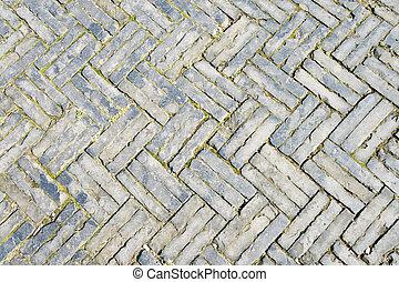 Lleno, marco, zigzag, ladrillo, patrón, acera, viejo,...