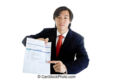 Asian man in a suit pointing at a medical bill marked...