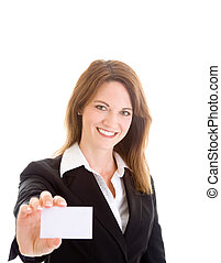 Happy Caucasian Woman Holding Blank Business Card Isolated...