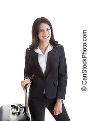 Smiling Caucasian woman traveling with suitcase.  Isolated white background. -