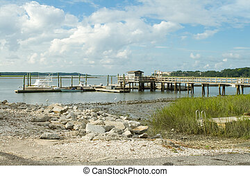 Pier Dock into Back Bay, Low Tide, Hilton Head Island - Dock...