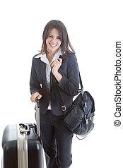 Sourire, caucasien, femme, valise, sac à dos,...