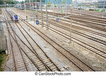 Train Yard and Tracks Geneva Switzerland Wide Angle Lens -...