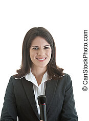 Happy Caucasian woman smiling at camera while holding microphone.  Isolated White Background.