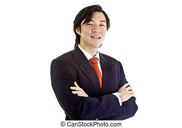 Asian man in a confident pose while wearing a business suit.  Isolated on white background.