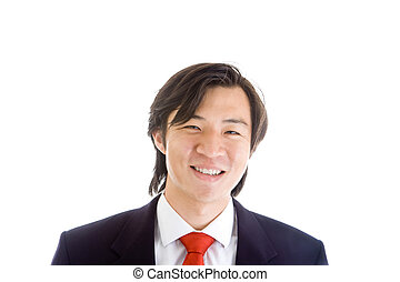 Happy Asian Businessman in a Suit On White Background - Head...