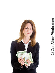 Angry woman crumpling a stock certificate.  Investments gone bad theme.  Isolated on white background.