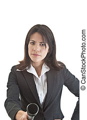 Caucasian woman with skeptical expression holding microphone to camera.  Isolated on white background.