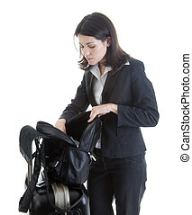 Caucasian Woman Looking Through Bag While Traveling Isolated Whi