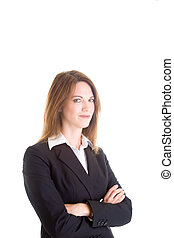 Confident Caucasian Business Woman Isolated on White Arms Crosse