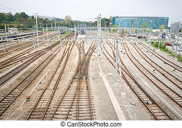 Railroad Train Yard and Tracks Geneva Switzerland - Geneva,...