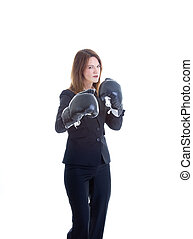 Caucasian Woman Suit Boxing Gloves Isolated White Background...