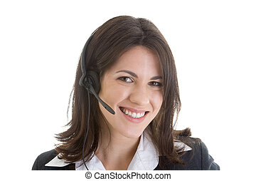 Young Caucasian woman wearing a telephone headset and smiling at the camera.