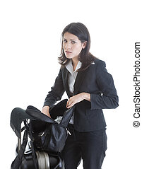 Worried Caucasian woman has lost something while traveling.  Isolated on a white background.