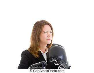 Caucasian Woman Suit and Boxing Gloves Sideways Glance Isolated Background.
