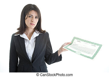 Caucasian Woman Unhappy with Stock Market Looking at Camera