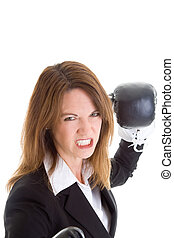 White Woman Gritting Teeth Boxing Gloves Punching Camera -...